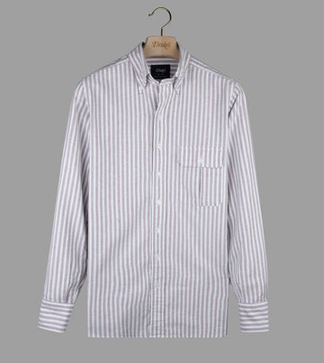 Drake's Wide Stripe Oxford Button Down Shirts