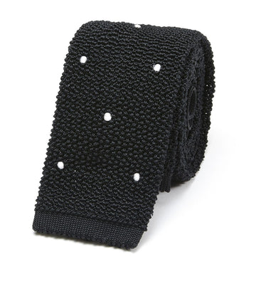 Drake's Silk Knitted Spot Tie Black