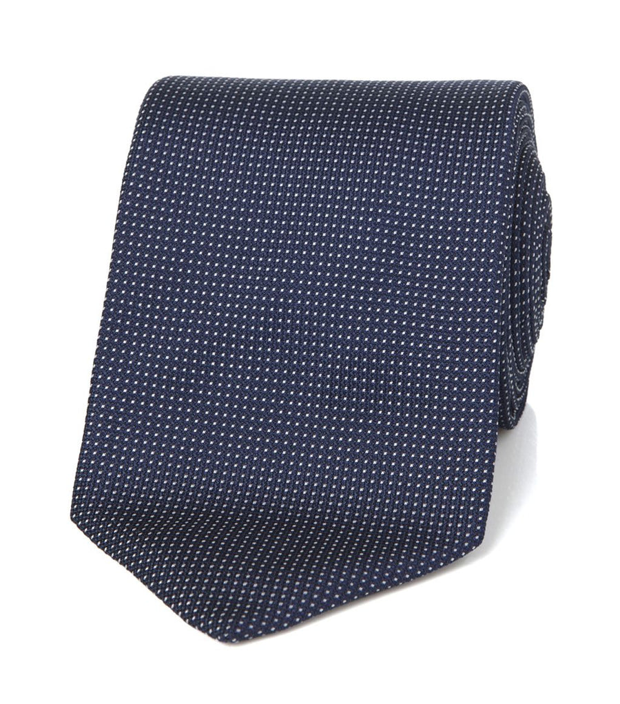 Drake's Silk Jacquard Pin Dot Tie Navy