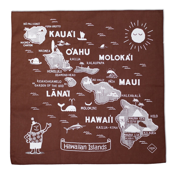 BANDANA -  HAWAIIAN ISLAND BROWN