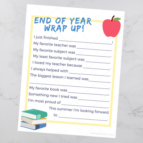 Wanderwild End of School Year Questionnaire Free Printable