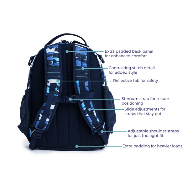The Explorer Backpack features back of pack
