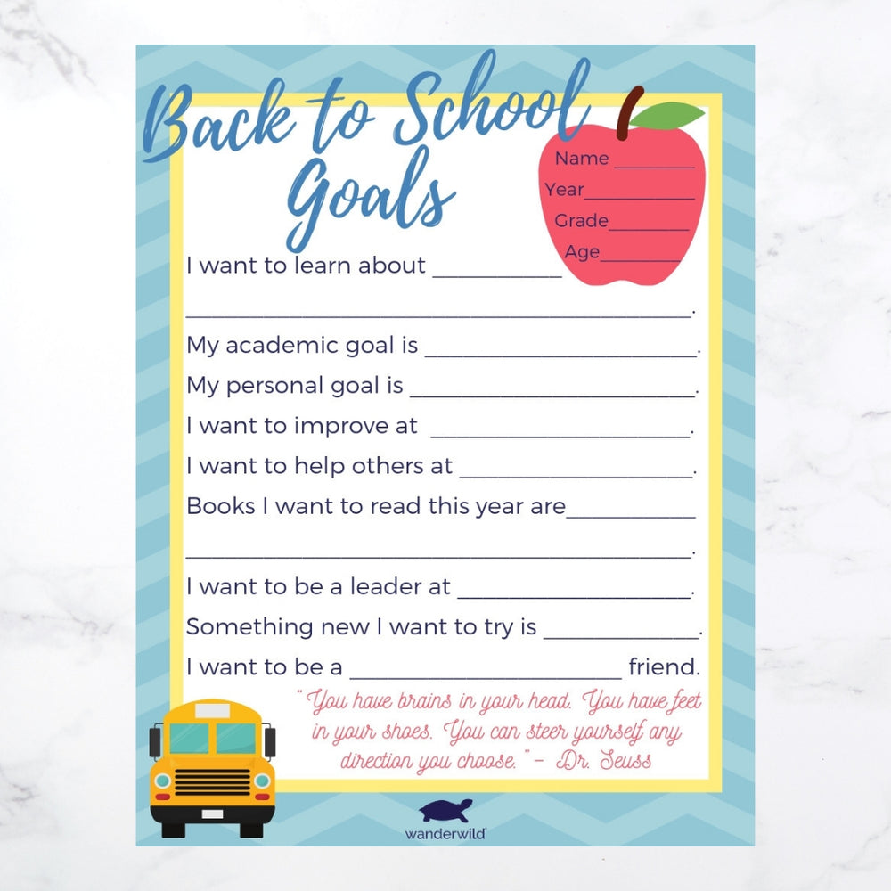 Printable: Back to School Goals