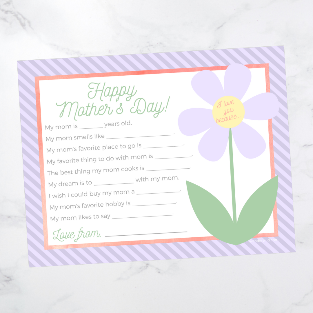photo regarding Mother's Day Questionnaire Printable identify Printable: Moms Working day Questionnaire WANDERWILD CO