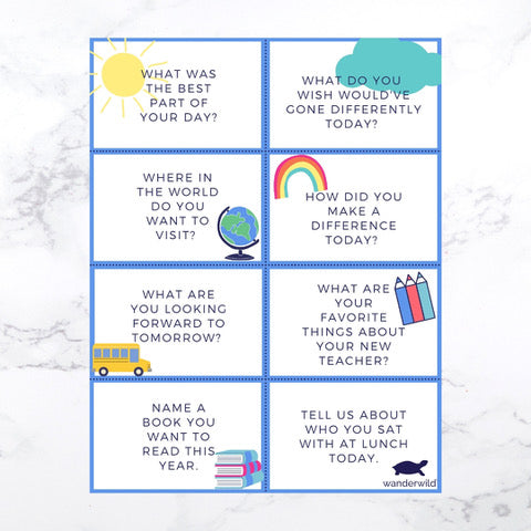 Printable: Back to School Conversation Cards