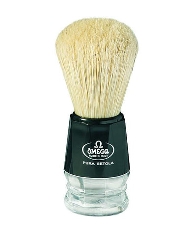 Omega Boar Bristle Brush with Black Plastic Handle