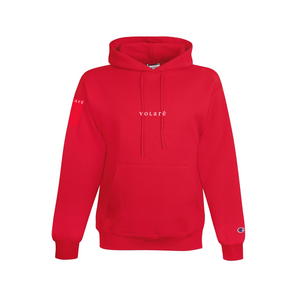 EMBROIDERED WORDMARK PULLOVER HOODIE / RED