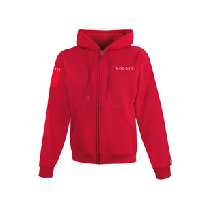 EMBROIDERED WORDMARK ZIP UP HOODIE / RED