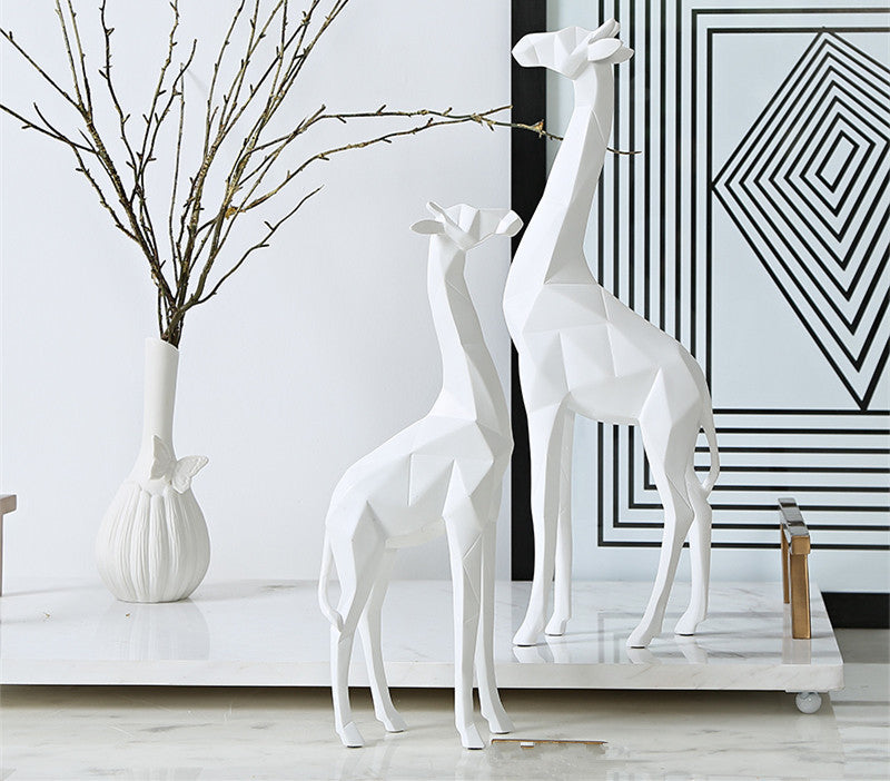 Modern Giraffe Sculpture - Abstract Art Resin Statue