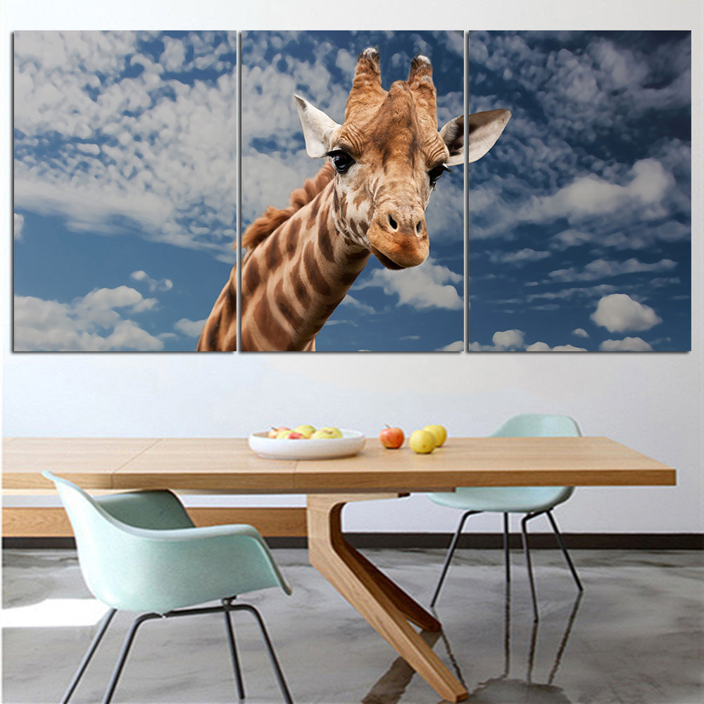Giraffe Wall Art Canvas with One or Two Giraffes - 3 Pieces - Multiple Sizes Available