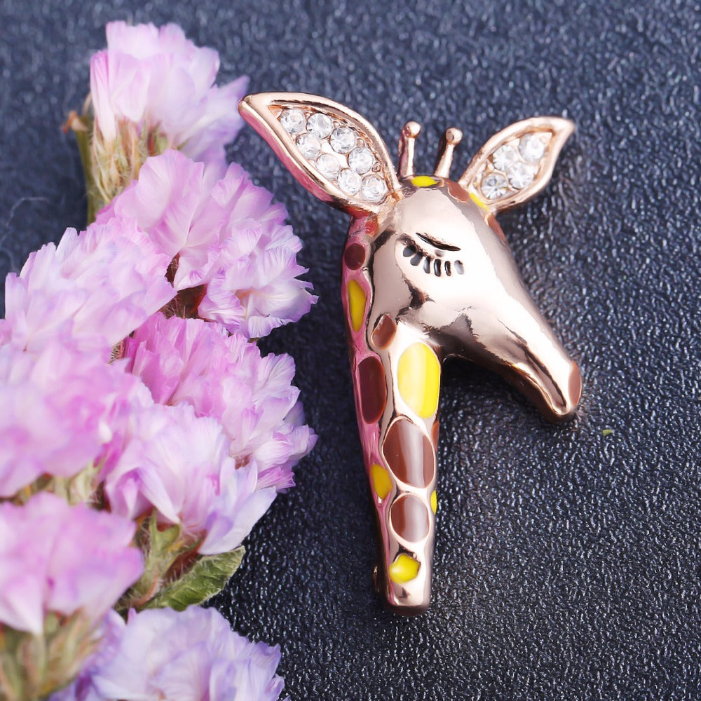 Cute giraffe brooch with crystals and enamel applications