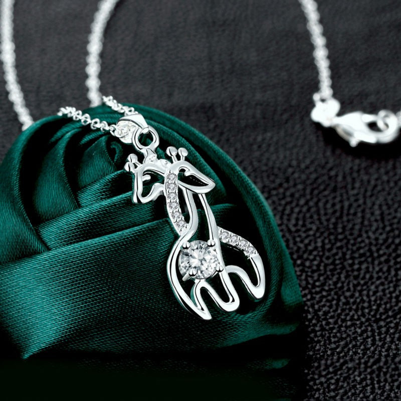 Gorgeous silver giraffe necklace and pendant with a large eye-catching cubic zirconia
