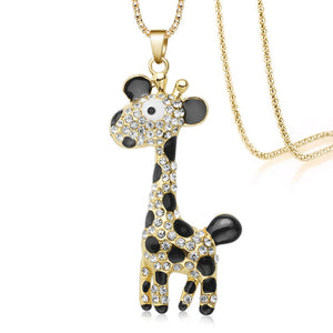 Lovely giraffe necklace and pendant with crystal rhinestones contrasting black enamel applications