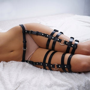 Gothic Black Leather BDSM Belt