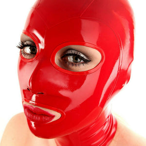 Fiery Red Latex Hood