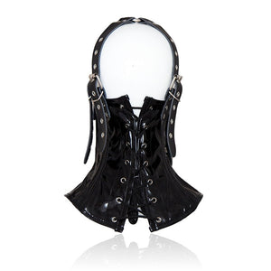 Hardcore Black Leather Mouth Corset