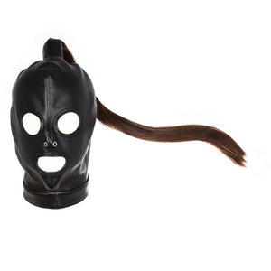 Leather BDSM Face Mask With Ponytail