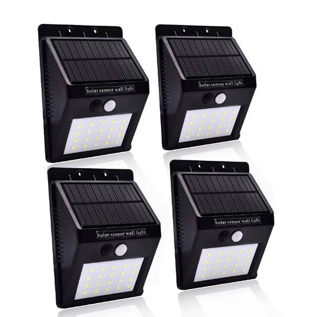 LAMPE SOLAIRE MURALE 20 LED - LOT DE 4