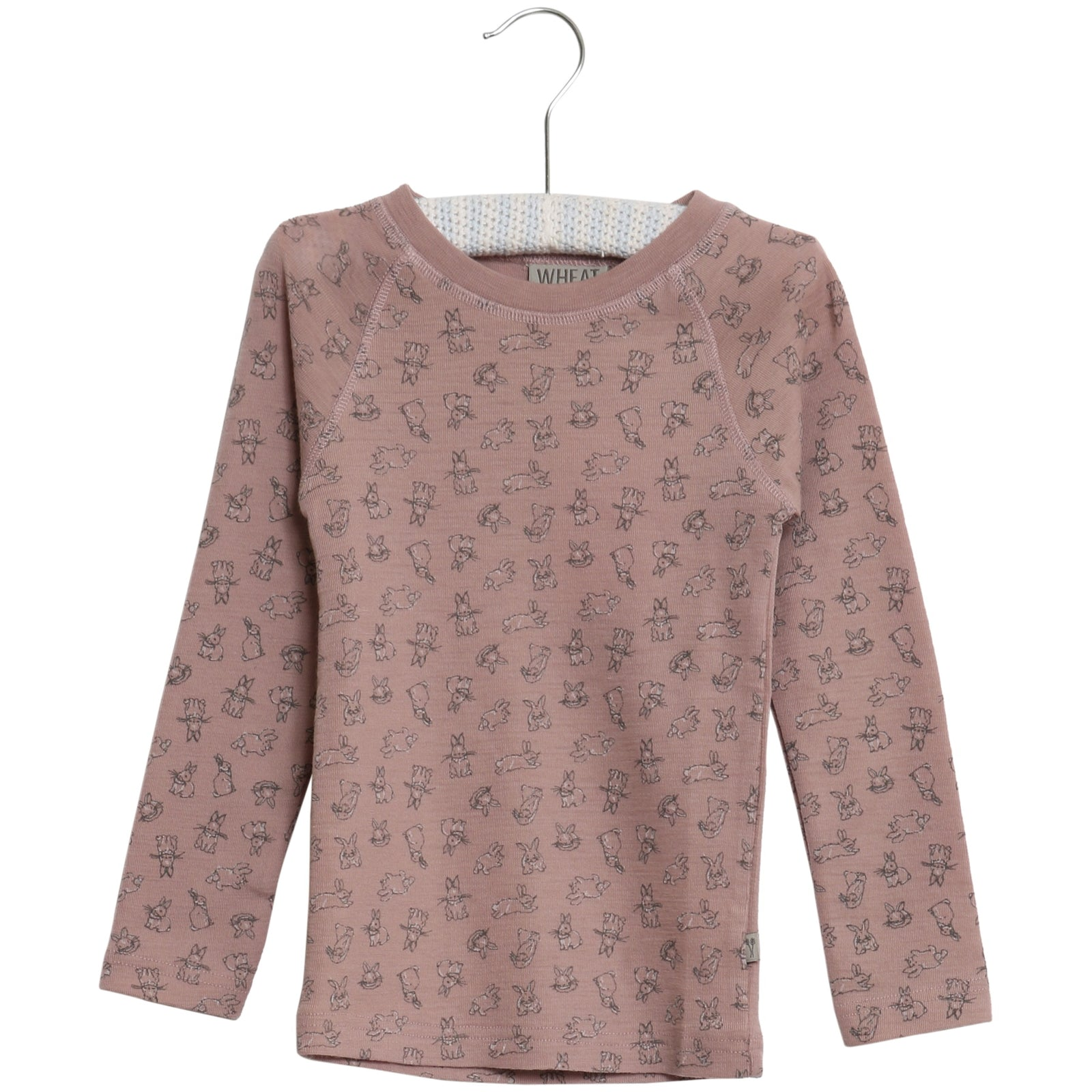 Wool T-Shirt Long Sleeve with Rabbit print