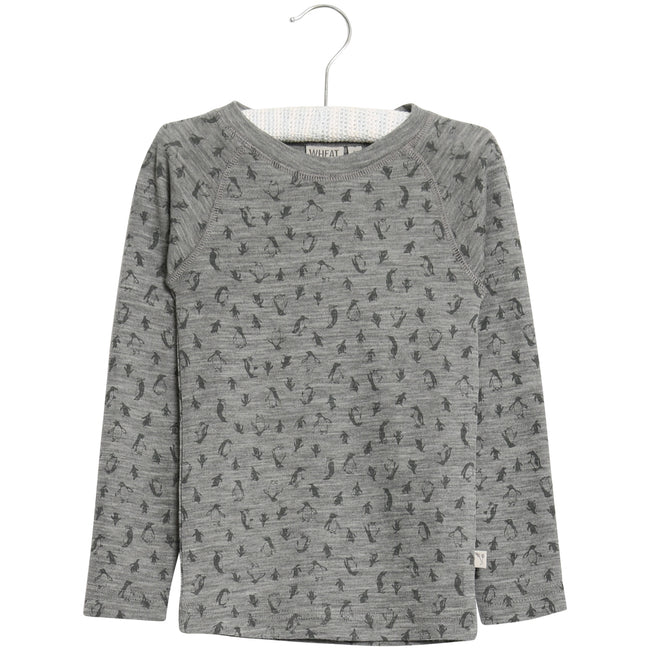 Wool T-Shirt Long Sleeve with Penguin print
