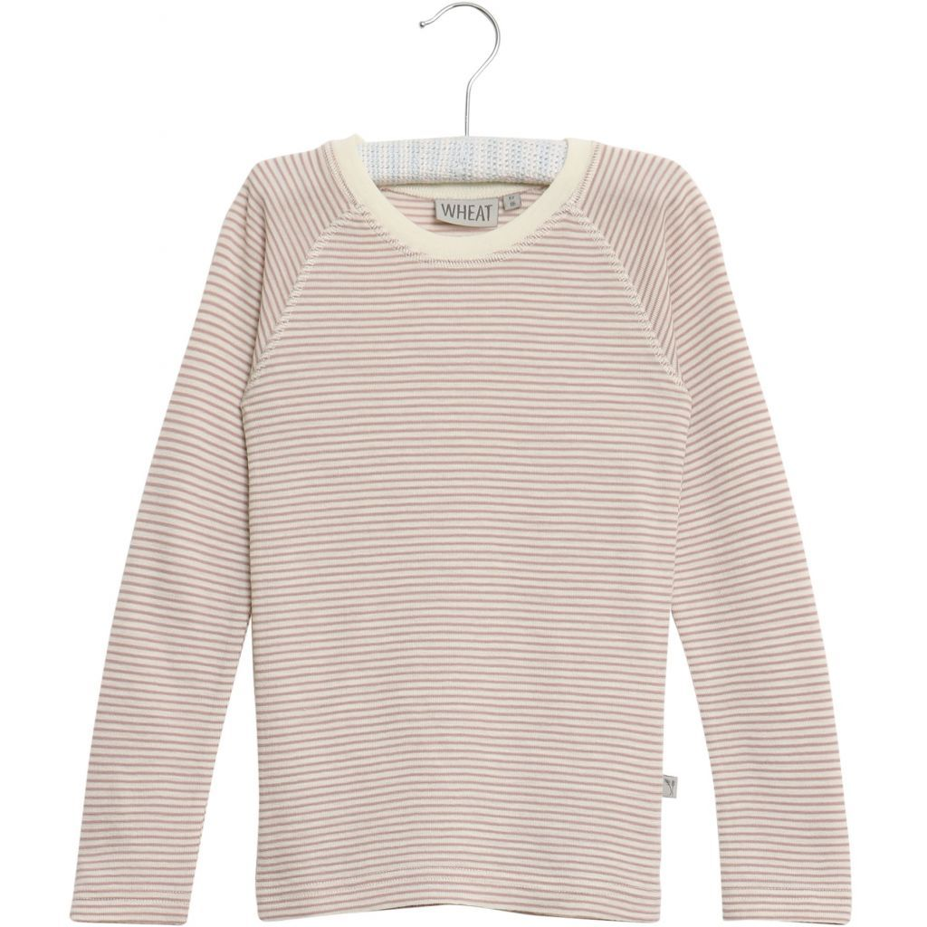 Wool T-Shirt Long Sleeve Fawn with Cream Stripe