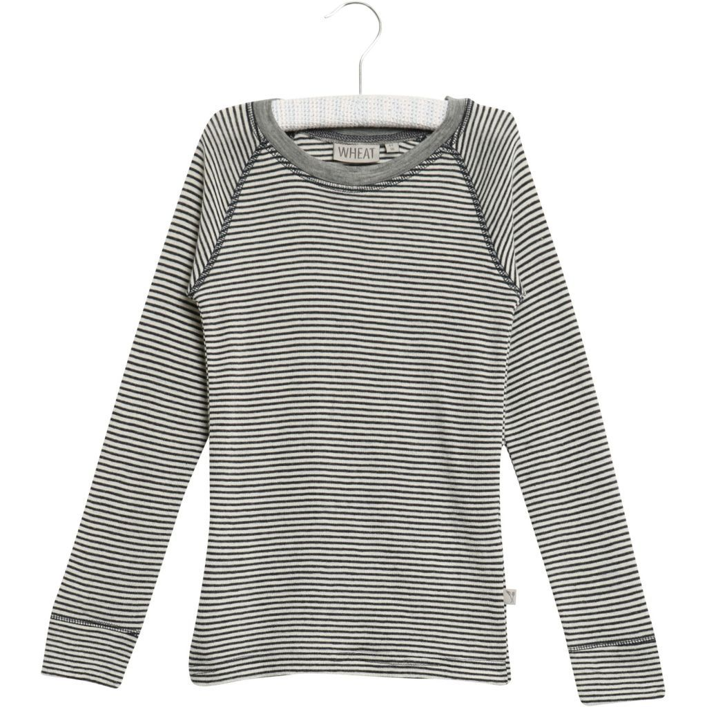 Wool T-Shirt Long Sleeve Navy and White Stripe
