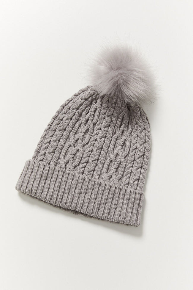 Cable Merino Beanie - Grey Marl