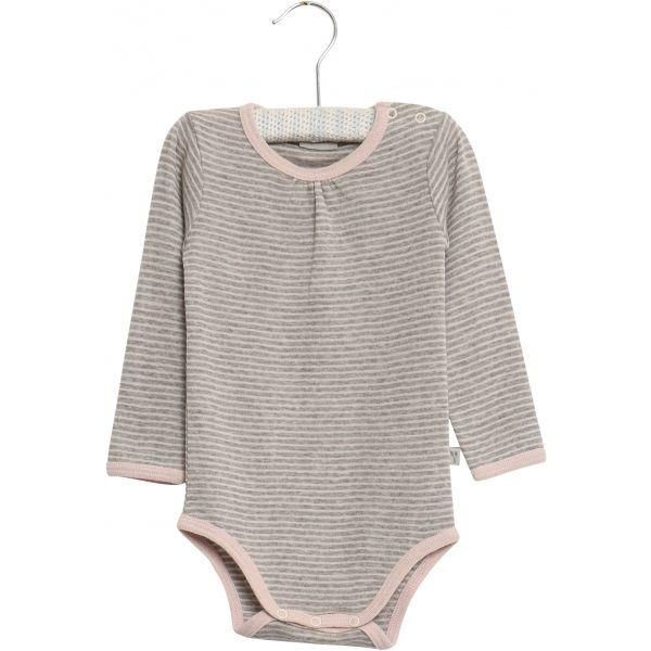 Bodysuit Gathered Wool Long Sleeve Peony