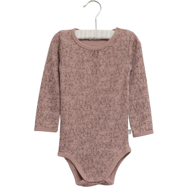 Bodysuit Gathered Wool Long Sleeve Rabbit Print Fawn