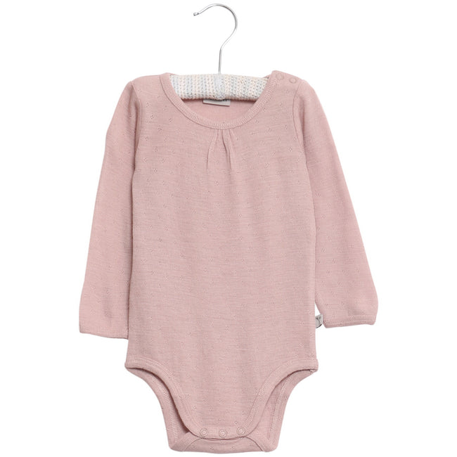 Bodysuit Gathered Wool Long Sleve Shadow Rose