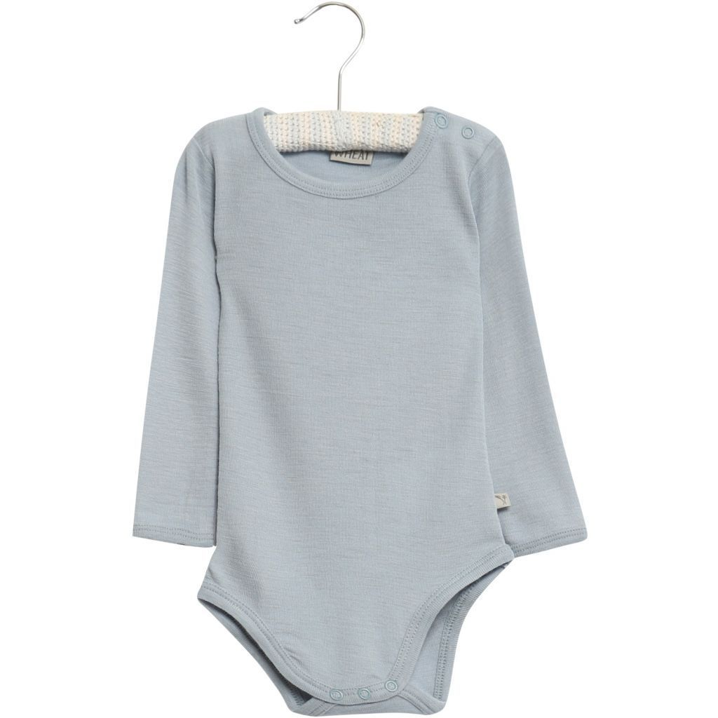 Bodysuit Plain Summer Wool Long Sleeve Sky