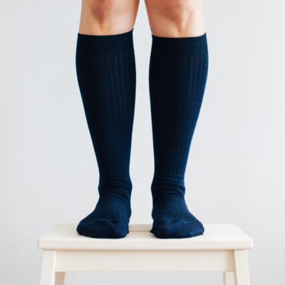 Women's Merino Wool Socks Knee High - NAVY RIB