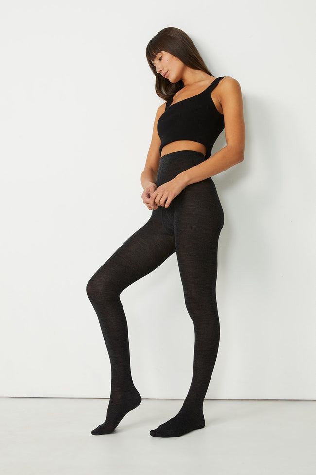 Fine Merino Tights - Charcoal