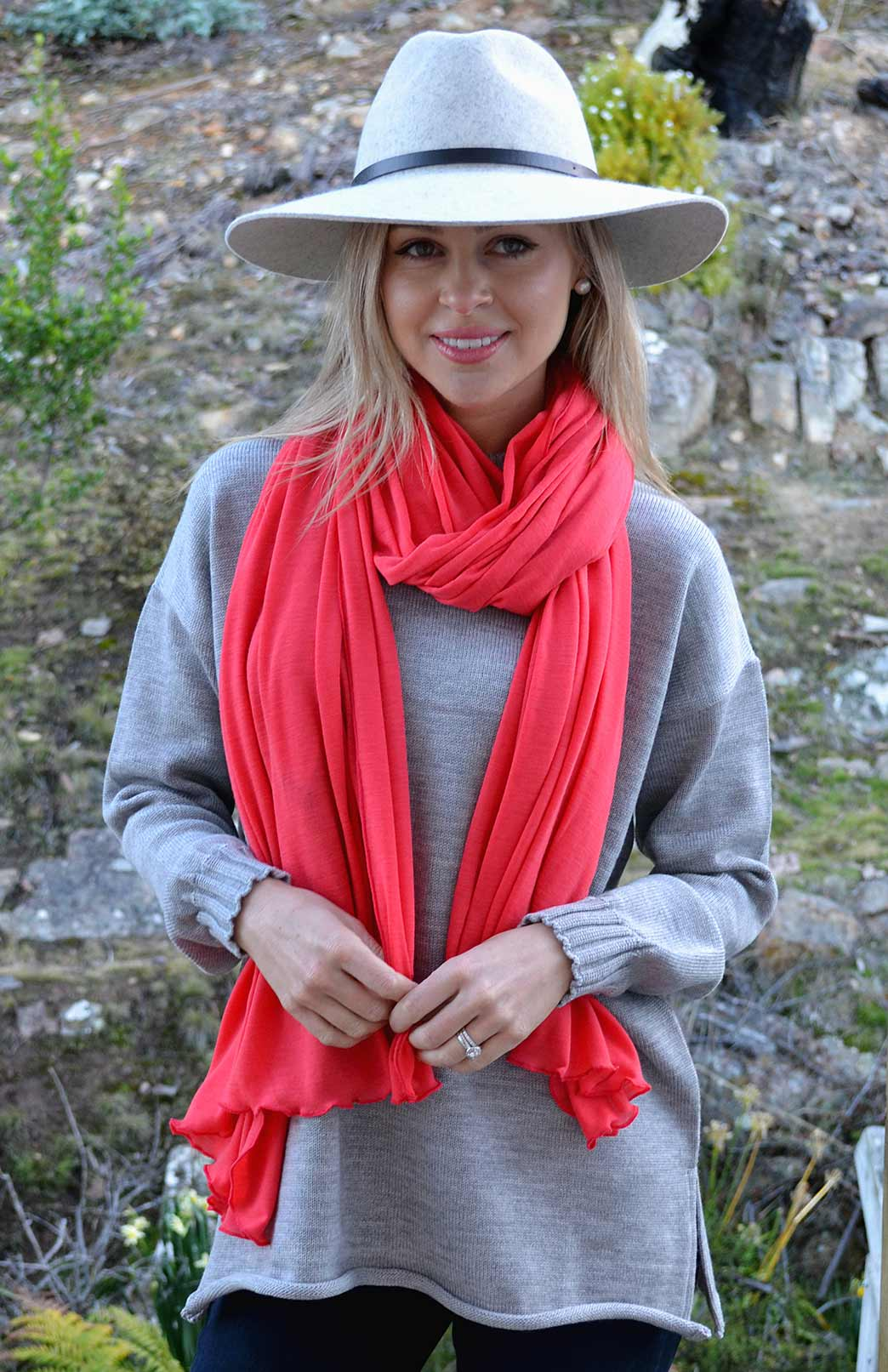 Women's Superfine Merino Wool Classic Wide Scarf - Watermelon Pink