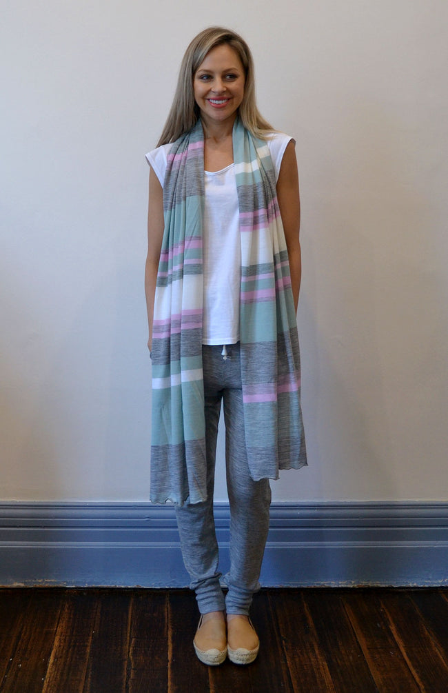 Women's Superfine Merino Wool Classic Wide Scarf - Pastel Multi Stripe