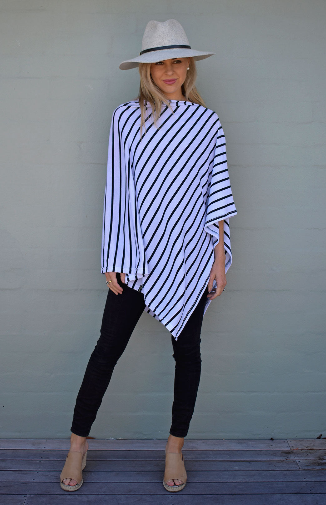 Classic Poncho - White & Black French Stripe