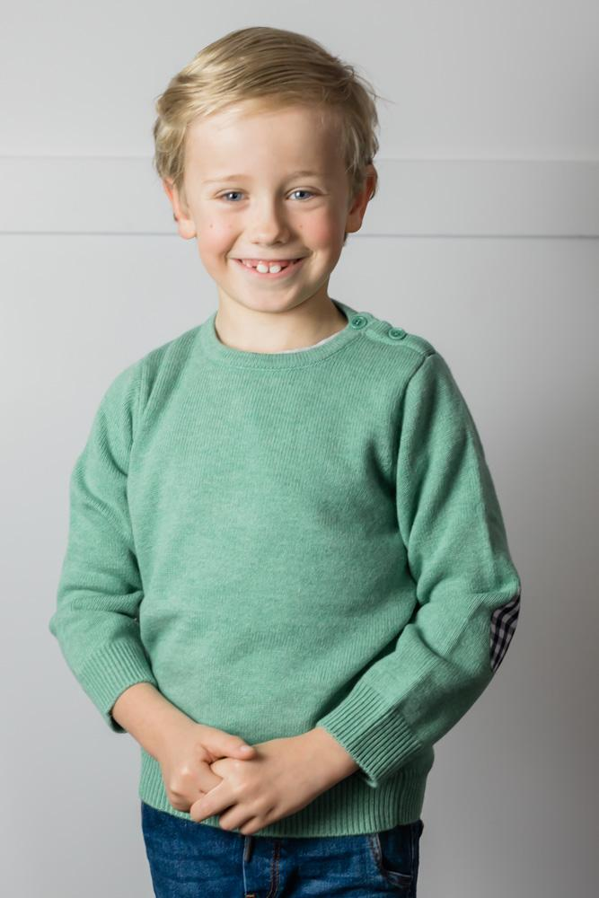 Childrens Mint Jumper with Gingham Patches