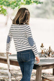 Womens Ivory and French Navy Jumper with Denim Blue Patches