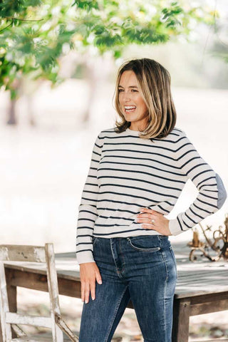 Womens Navy Jumper with Gingham Patches