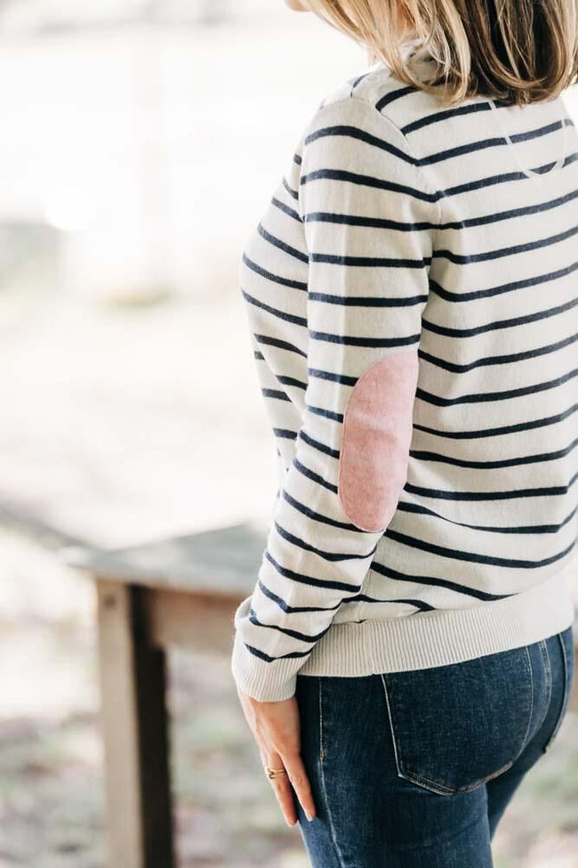 Womens Ivory and French Navy Jumper with Pink Patches