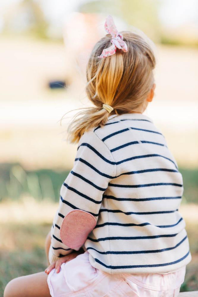Childrens Ivory and Navy Stripe Jumper with Pink Patches