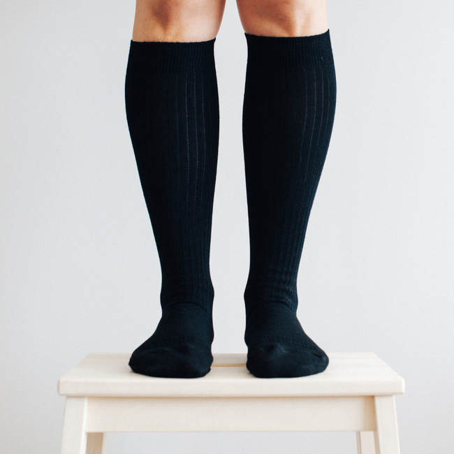 Women's Merino Wool Socks Knee High - Black Rib