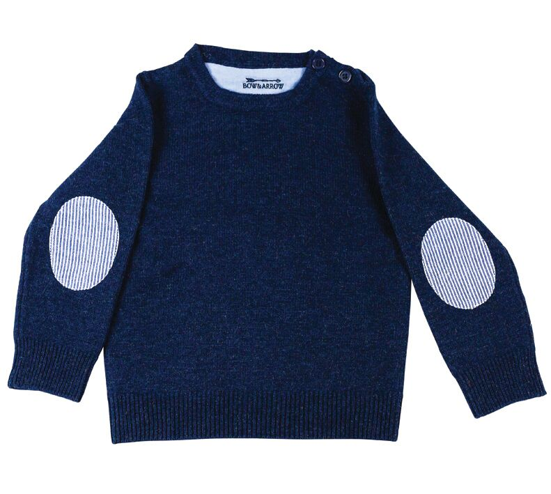 Childrens Navy Jumper with Blue/White Patches