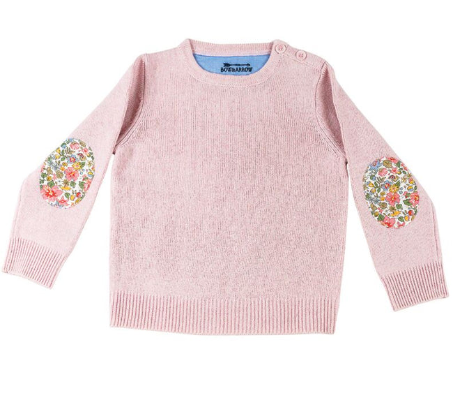 Childrens Pink Jumper with Liberty Patches