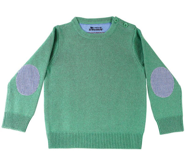 Childrens  Spearmint Jumper with Blue/White Patches