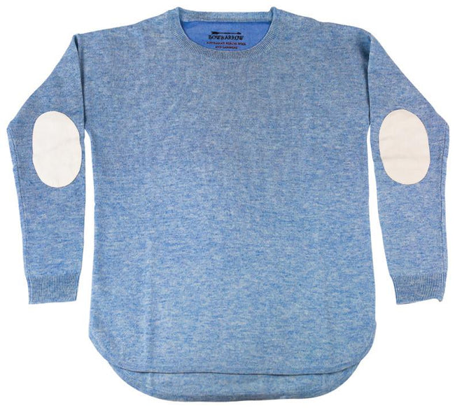 Women's Pale Blue Jumper with Ivory Patches
