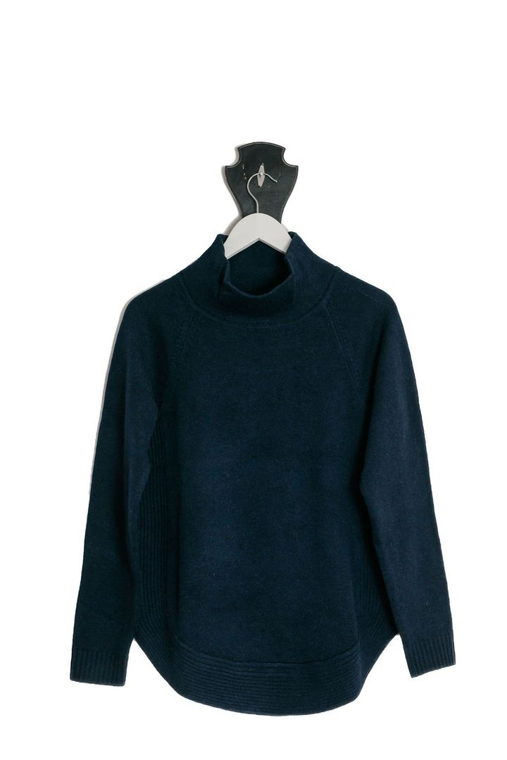 Womens Navy Funnel Neck Jumper