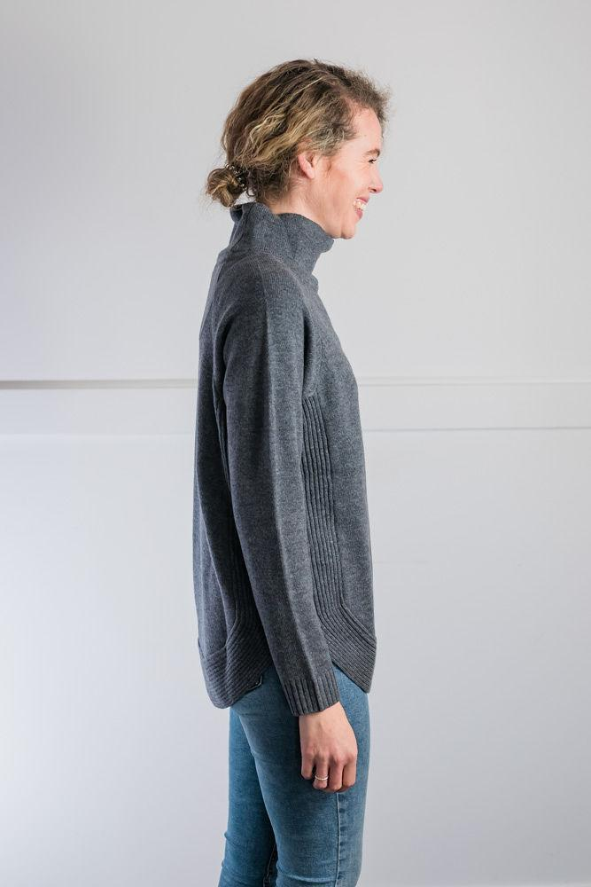 Womens Steel grey Funnel Neck Jumper