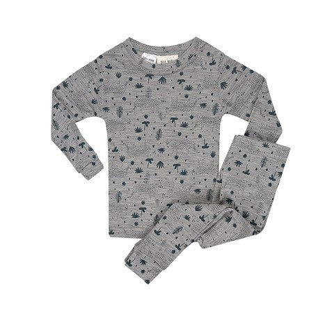 Childrens Layer Set Wool Pyjamas - Teal Leopard