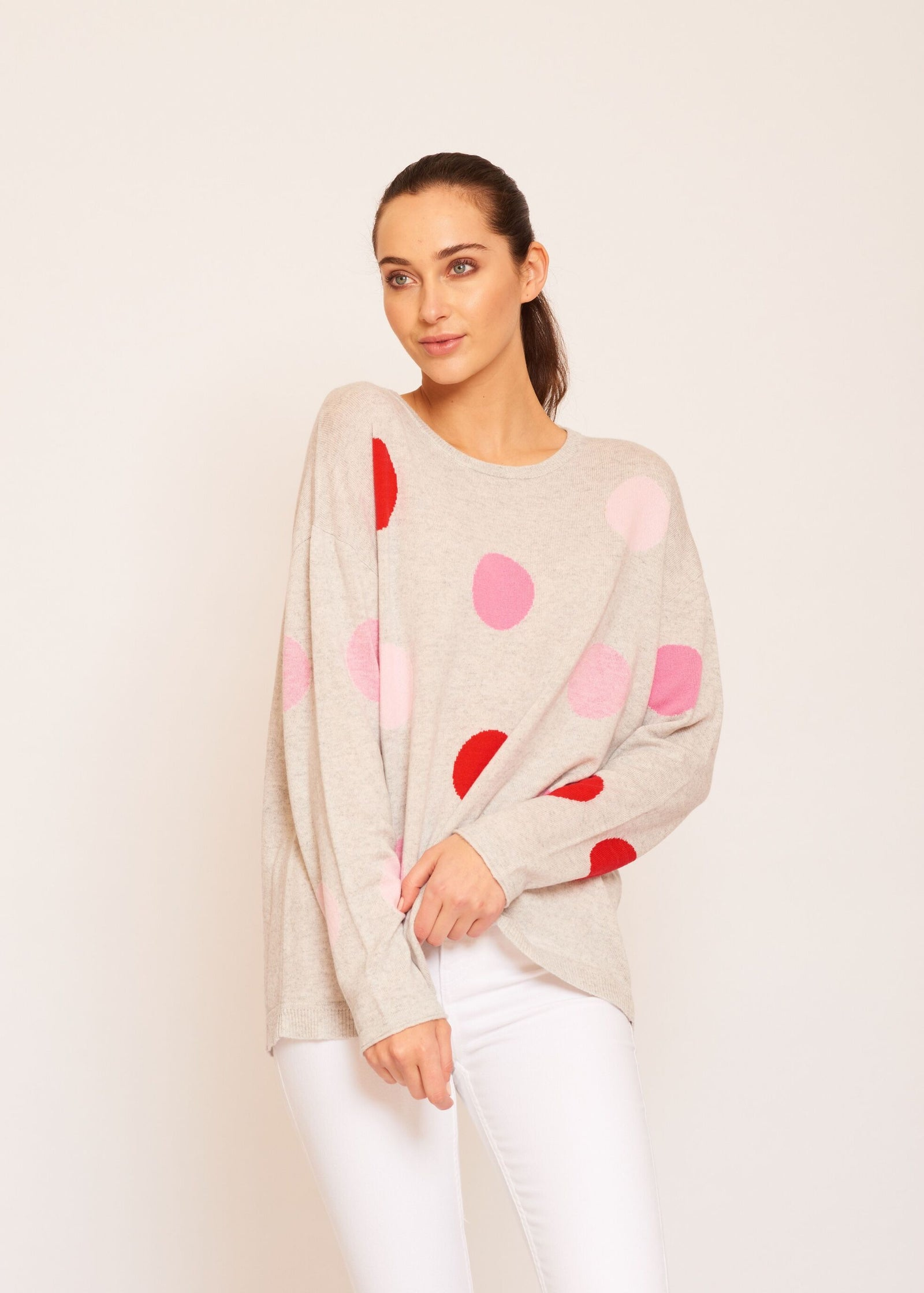 Womens Freckles Jumper - Husky/Pink